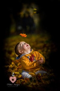 Toddler in an autum woodland. Shot by swindon wedding photographer, pickin images photography