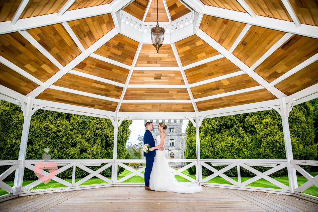 Bandstand photo wedding at Clearwell Castle in Gloucestershire.