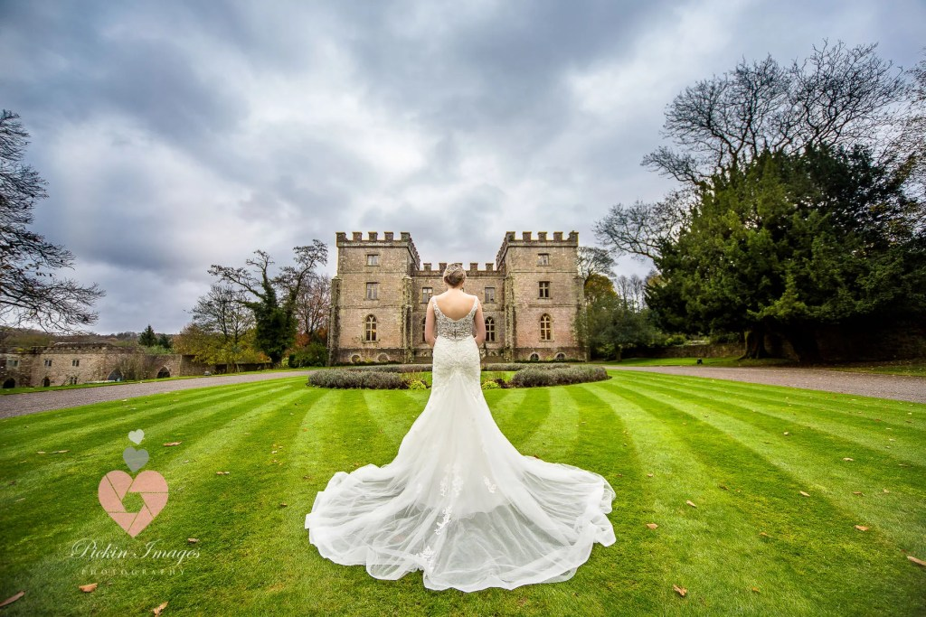 Dress photo at Clearwell Castle in Gloucestershire. Swindon wedding photographer.