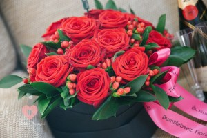 Red roses for the bride on her big day.