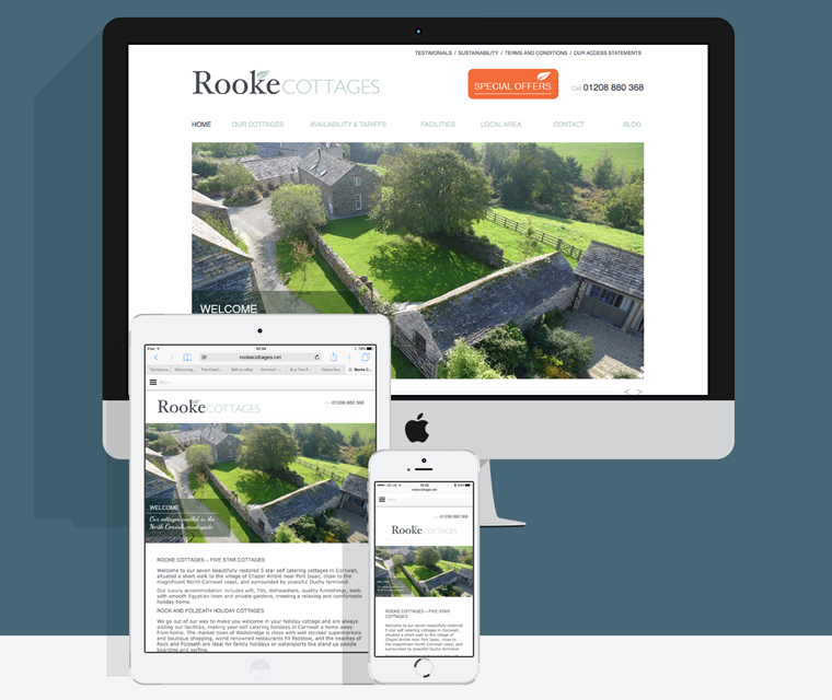 Mobile friendly website design for Rooke Cottages