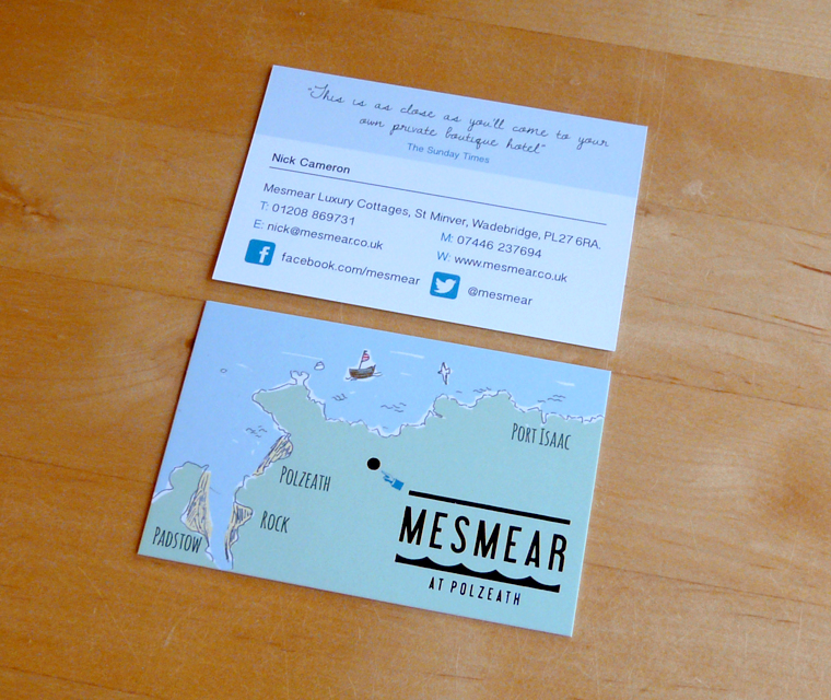 Business card design for Mesmear Luxury Cottages
