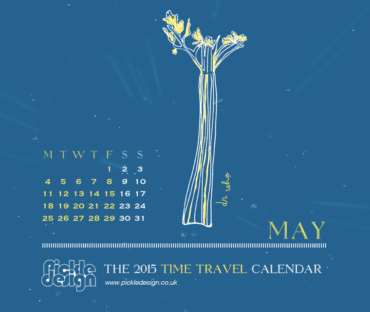 The May 2015 Time Travel Calendar featuring Dr Who
