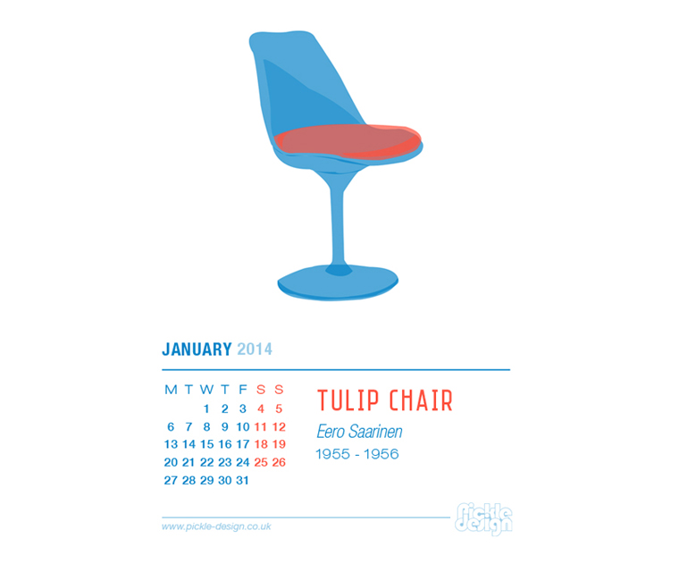 January 2014 Calendar featuring the Tulip Chair