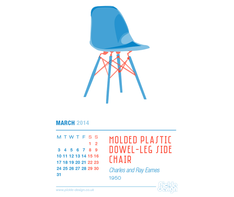 March 2014 Calendar featuring the Eames Molded Plastic Dowel-Leg Side Chair