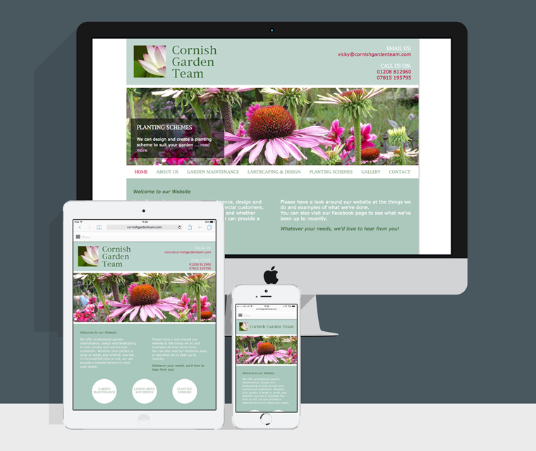 Mobile friendly website design for Cornish Garden Team