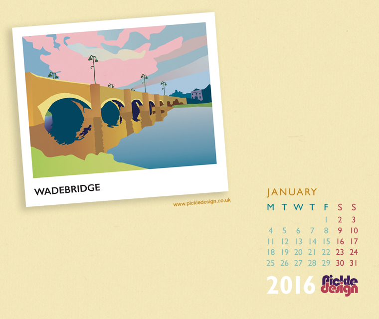 Our January 2016 Calendar featuring an illustration of Wadebridge
