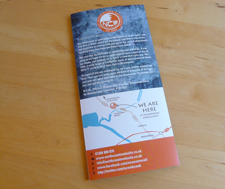 Back cover of the North Coast Wetsuits leaflet