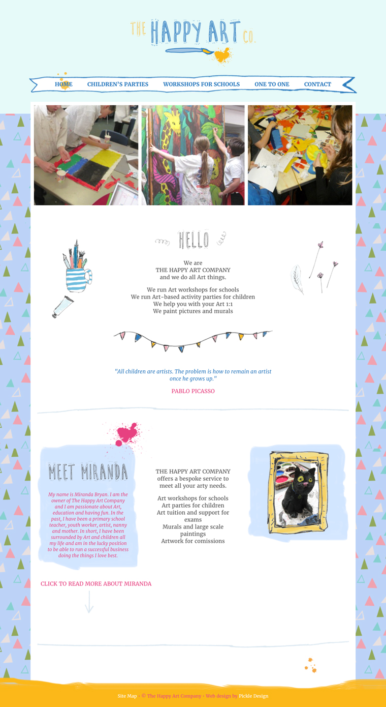 Website design for The Happy Art Company