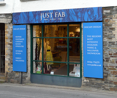 Shopfront signage for Just Fab Design