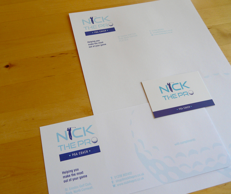 Stationery design for Nick the Pro golf shop