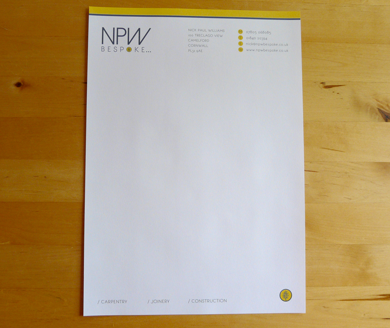 Letterhead design for NPW Bespoke carpentry