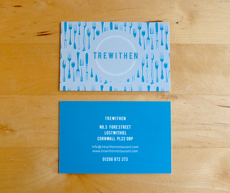 Business card design for Trewithen Restaurant