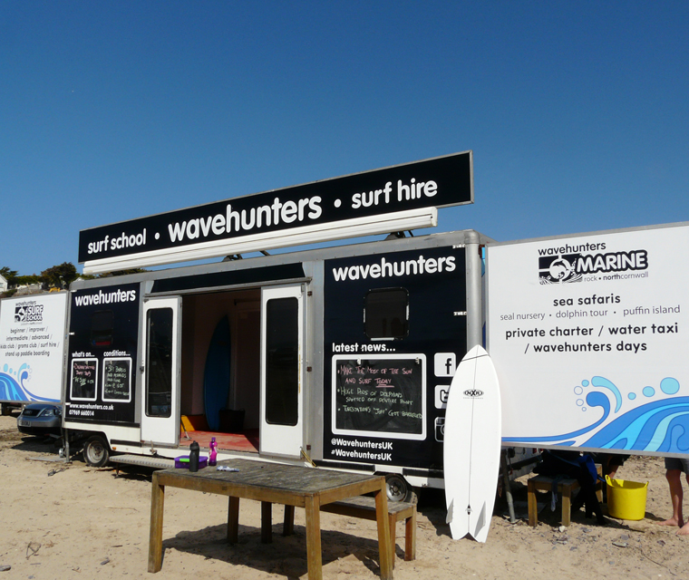 Trailer livery design for Wavehunters Surf School at Polzeath Beach