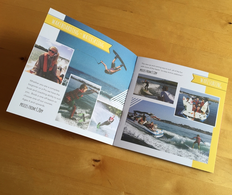 Wakeboarding and waterskiing brochure design