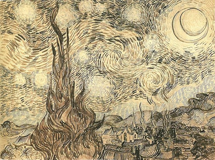 Vincent van Gogh: Starry Night. Drawing. Saint-Remy: June, 1889.