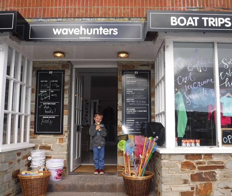 Wrap around signs for Wavehunters Padstow shop
