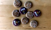 Illustrated pin badges for the love of wood