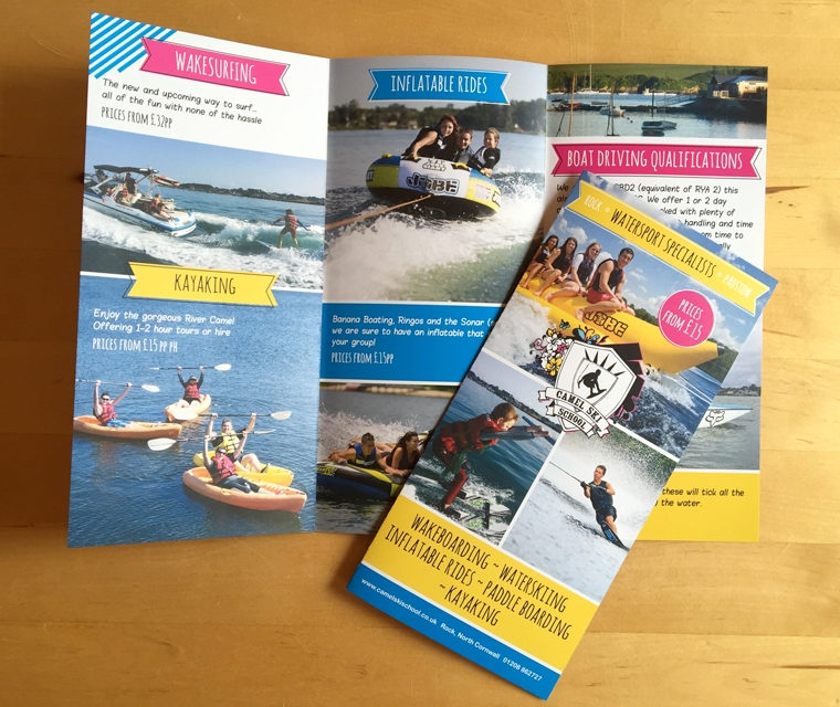 Six page leaflet design for Camel Ski School