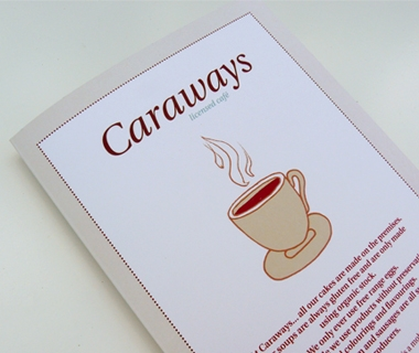 Cover of the menu we designed for Caraways Cafe
