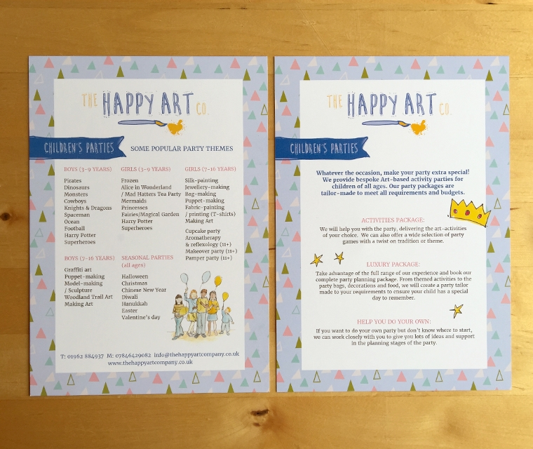 A5 flyer design for The Happy Art Company