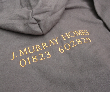 Hoodie reverse embroidery for J.Murray Homes