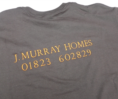 T-shirt reverse embroidery for J.Murray Homes