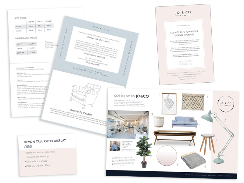 furniture cards, price cards, invitation design and advert design for Jo&Co Home