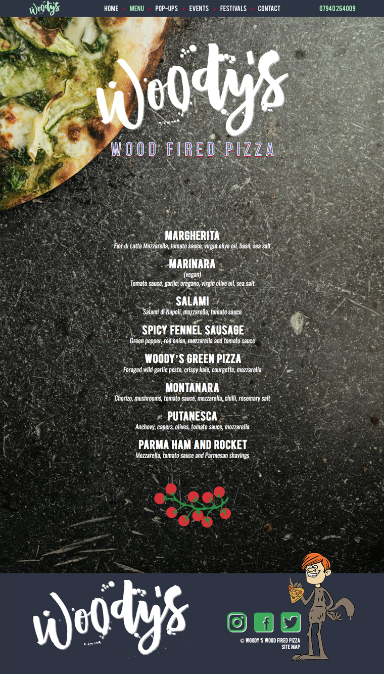 Woody's wood fired pizza menu page by pickle design