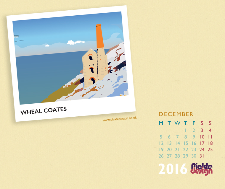 download Wheal Coates in snow illustrated in vintage style by Pickle Design