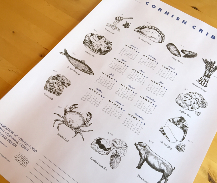 Hand illustrated poster calendar celebrating Cornish food