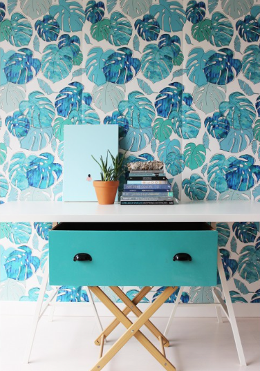 Green and blue palm leaf wallpaper