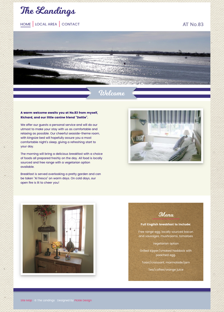 The Landings Bed and Breakfast home page