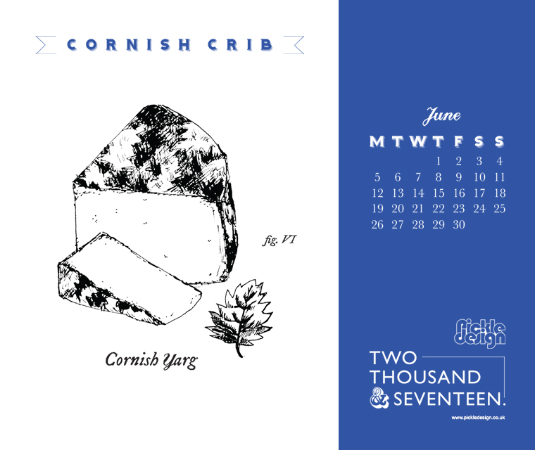 Download our June calendar featuring our vintage illustration of Cornish Yarg cheese