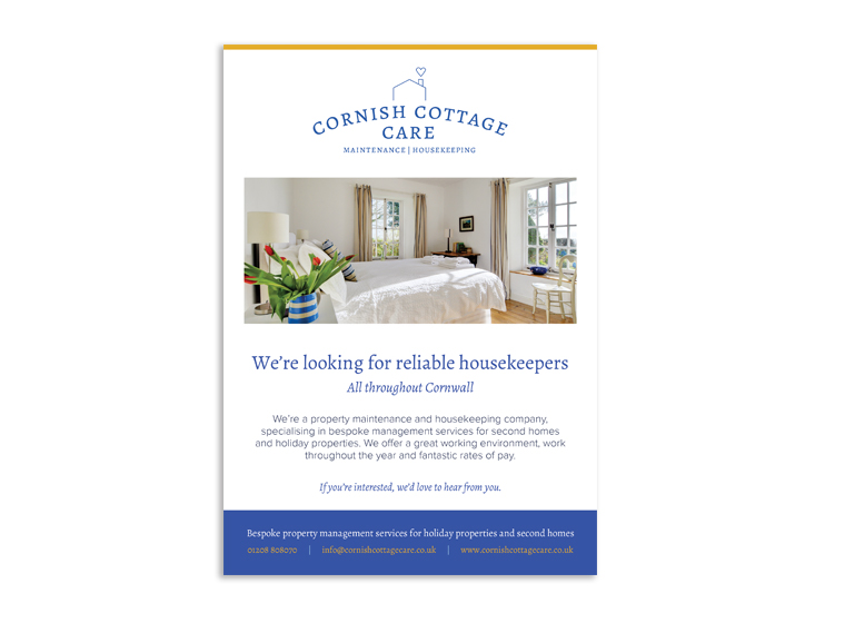 Cornish Cottage Care advert design