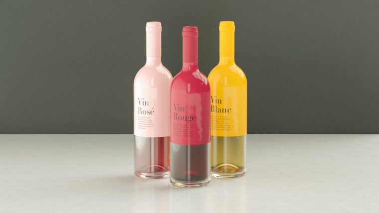 Pink, red and yellow colour dipped glossy wine bottle from Germany