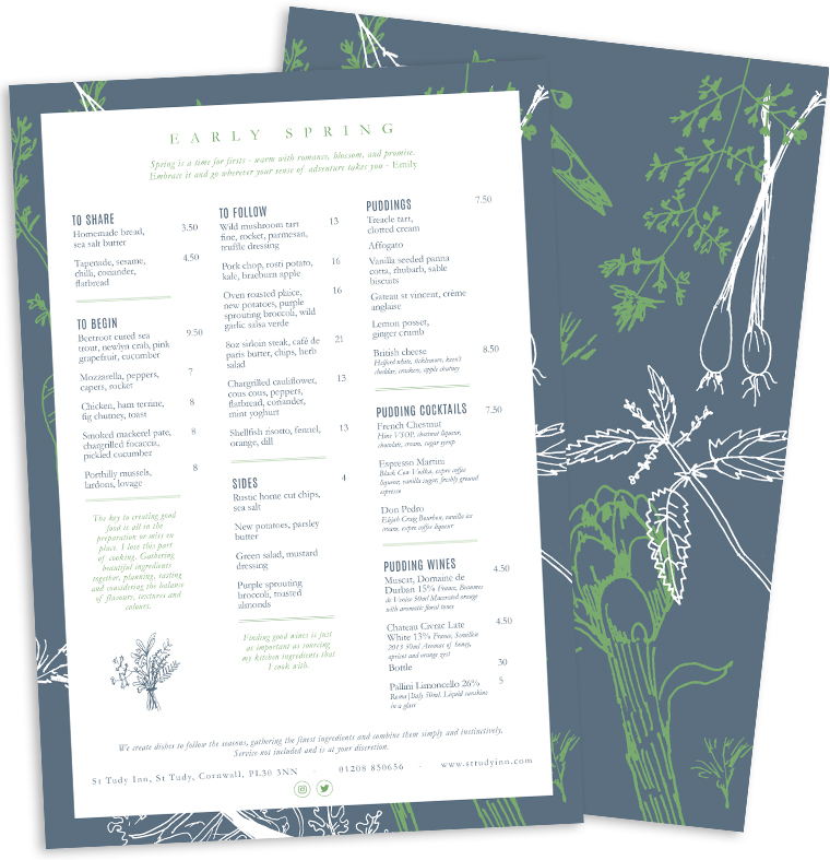 Spring menu design for Emily Scott at Study Inn by Pickle Design