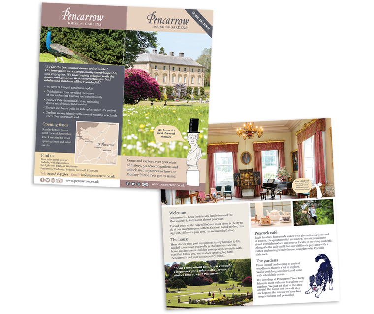 Leaflet design for Pencarrow House and Gardens