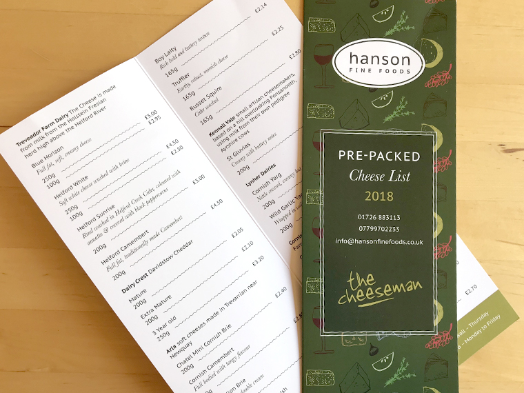 A4 folded to a tall price list for Hanson Fine Foods