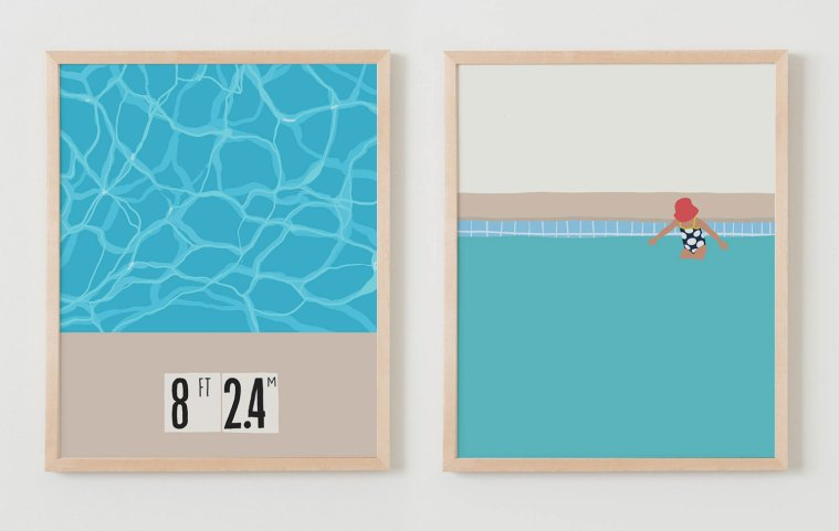 Two art prints by Jorey Hurley of the swimming pool