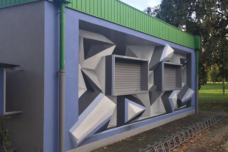 Optical illusion 3d graffiti art
