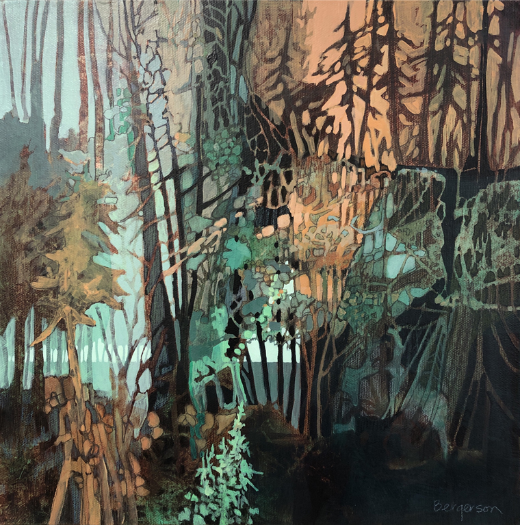 Abstract and figurative painting of trees by Judith Bergerson
