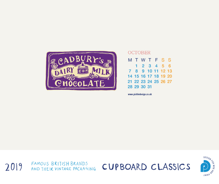 Download our October vintage food packaging calendar of Cadbury's Chocolate for free for your mobile, tablet and desktop computer background