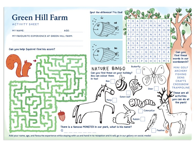 Activity Sheet for kids at Green Hill Farm