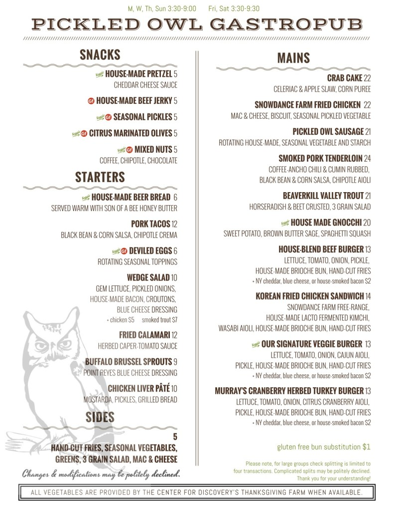 Pickled Owl Fall Menu