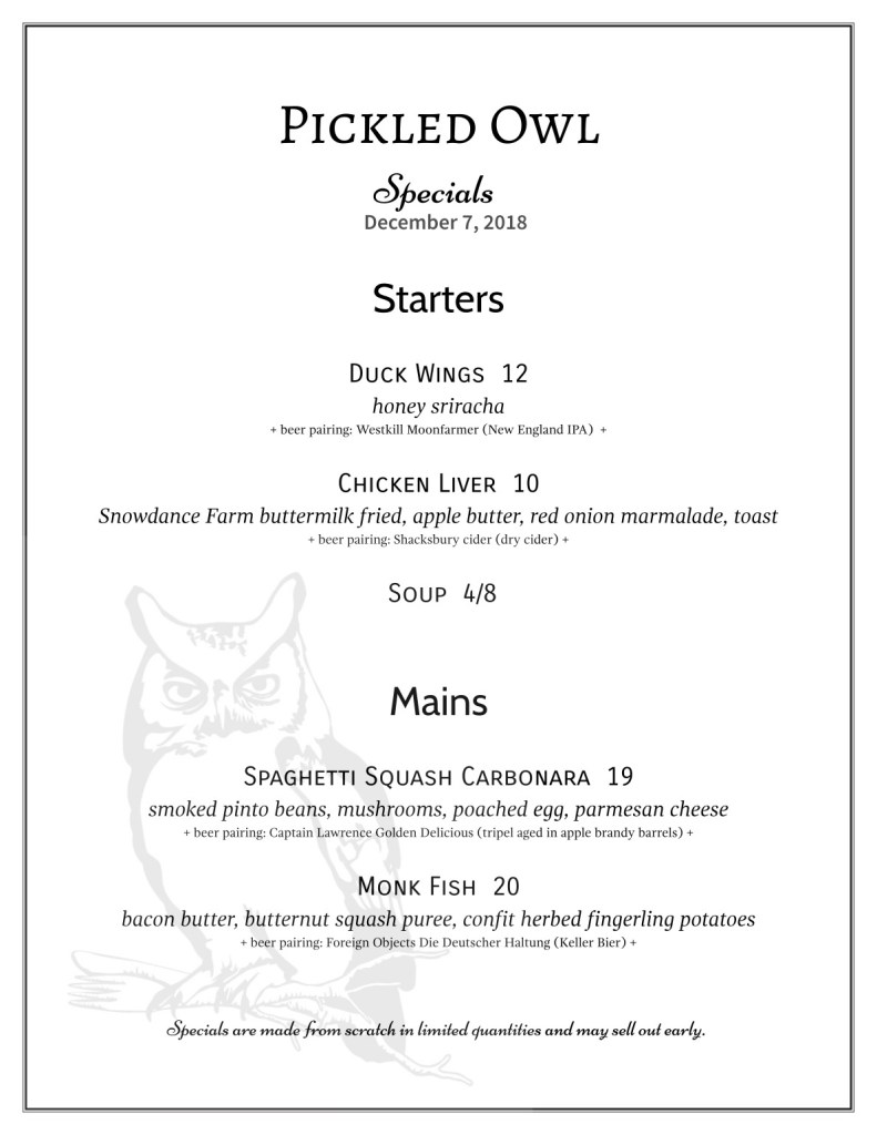 specials pickled owl