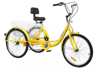 Iglobalbuy 6-Speed Yellow 3 Wheel Adult Bicycle