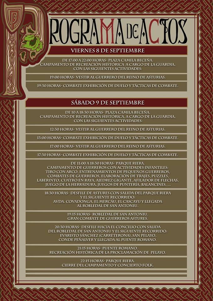 """Programa de actos: """"Astures: Pelayo, nuestro Rey"""""""