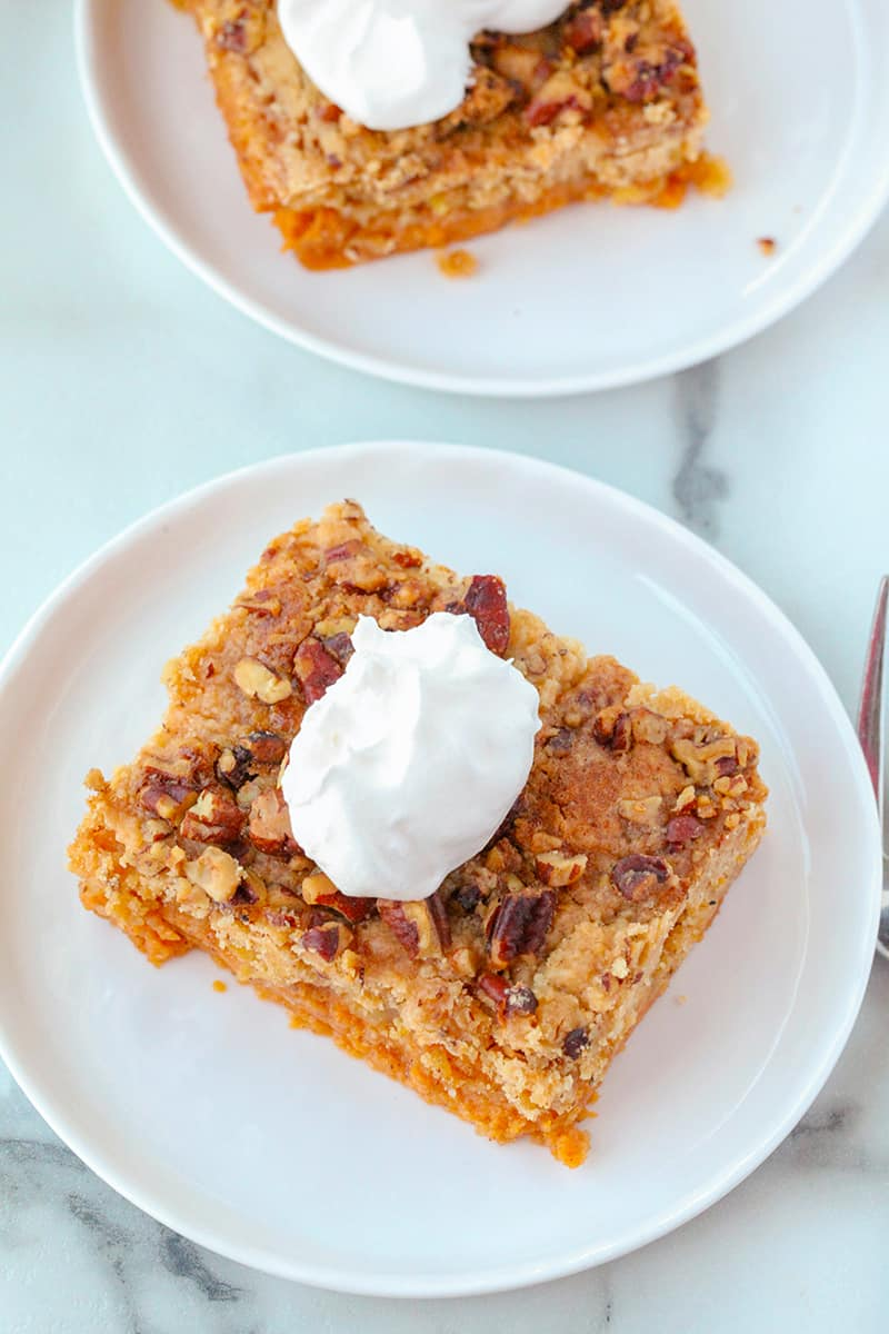 aerial view of pumpkin dump cake on a white plate