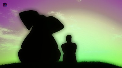 elephant and man